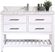 Willow Collections Santa Fe 48 In. W X 22 In. D Vanity In White With Calacatta Q
