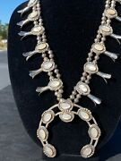 Vintage Sterling Squash Blossom Necklace With Matching Ear Rings And Bracelet