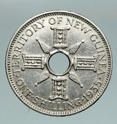 1935 Papua New Guinea British Uk King George V Old Silver Shilling Coin I91116