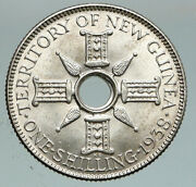 1938 Papua New Guinea British Uk King George Vi Old Silver Shilling Coin I91119