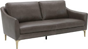 Brand – Rivet Alonzo Contemporary Leather Sofa Couch, 80w, Grey