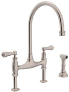 Rohl U.4719l-stn-2 Perrin And Rowe Deck Mount Bridge Kitchen Faucet With Sidespr