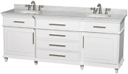 Wyndham Collection Berkeley 80 Inch Double Bathroom Vanity In White With White C