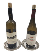 Pair Of Schofield Sterling Silver Repousse Wine Coasters In Baltimore Rose Patte