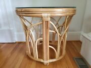 Vintage Bentwood Bamboo Rattan Natural Wood Tiki Oval Side End Table Mcm W25.5in