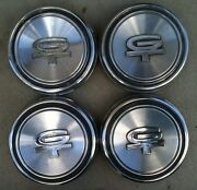1968-1969 Original Ford Gt Mustang Dog Dish Centers Rally Hubcaps Used Set Of 4