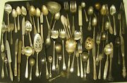 Silverplate Silverware Lot 63 Pieces Spoon Fork Craft Wedding Rogers