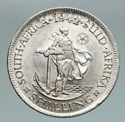 1942 South Africa Large George Vi Anchor Od Vintage Silver Shilling Coin I91180