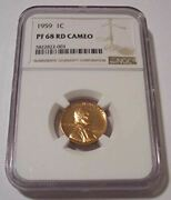 1959 Lincoln Memorial Cent Proof Pf68 Red Cameo Ngc