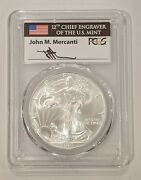 2003 Pcgs Ms70 Silver Eagle First Strike Flag Lable Signed By John Mercanti