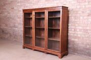 Antique Arts And Crafts Mahogany And Burled Walnut Glass Front Triple Bookcase