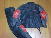Vintage 1980's Adidas All Leather Riders Jacket Pants Setup M Size From Korea