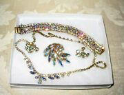 Sherman Jewels Of Elegance - Signed Ab Bracelet, Necklace, Brooch And Earrings