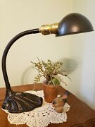 1930and039s Vintage Gooseneck Desk Or Table Lamp With Ornate Base