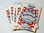 Five 1930and039s Vintage Empty Union Workman Chewing Tobacco Flat Foil Pouches - Nos