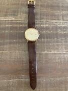 Geneve 14k Solid Gold Watch With Brown Lizard Calf Leather Band Euc