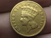 1889 3 Gold Indian Princess Three Dollar Coin- Fine Details 2300 Mintage