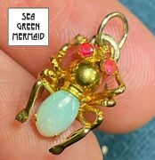 14k Yellow Gold Insect Bug Critter W Ruby And Pinfire Opal Pendant Tiny 21_117