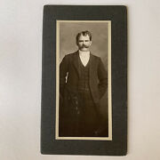 Antique Cabinet Card Photo Handsome Suave Man Mustache Gay Int Reno Nv Clifford