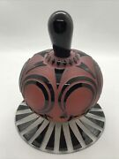 Fab Raabe And Fellerman Black Cut To Red Cameo Art Glass Perfume Bottle Signed
