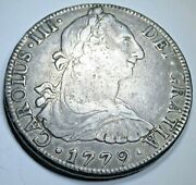 1779 Mexico Silver 8 Reales Antique 1700and039s Spanish Colonial Dollar Pirate Coin