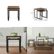 Donnelly Black Metal Nesting Tables With Haze Wood Finish Top Set Of 2 19.69