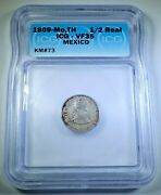 1809 Vf Mexico Silver 1/2 Reales Genuine Antique 1800and039s Spanish Colonial Coin