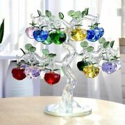 Crystal Glass Apple Tree Ornament Fengshui For Home Office Paperweight Decor