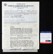 1962 Johnny Cash Autograph Contract Signed Twice With Psa/dna Coa - George Jones