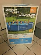 Summer Waves 15 Ft Active Metal Frame Above Ground Swimming Pool W/ Filter Pump