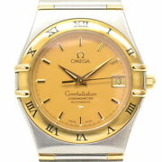 Wrist Watch Omega Constellation Menand039s Analog Gold Silver Automatic Winding Used