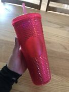 Starbucks Neon Hot Pink Studded Travel Tumbler 2019 Holiday Cold Cup Venti 24oz