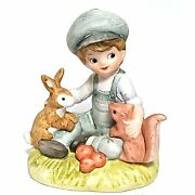 Lefton China Figurine 02429 Boy With Rabbit And Squirrel Hand Painted Vintage