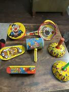 Lot 7 Vintage Us Metal Toy Mfg. Painted Tin Metal Noise Maker Toys With Clowns