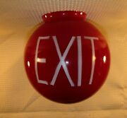 Vintage Ruby Red Globe Sortie Exit Sign Light Fixture Cinema Movie Theater 1950