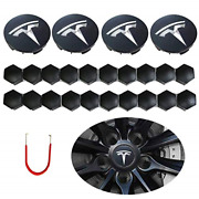 Zhongyu Dark Grey And Silver Car Wheel Center Cap Kit Compatible For Tesla 3 S And
