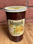 Vintage Monarch Lion 12 Oz Advertising Red Glass Jar W/ Lid Strawberry Jelly