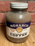 Vintage Monarch Lion 1 Lb. Advertising Glass Jar Coffee W/ Paper Label And Product