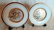 2 Small 24k Gold Edged Chokin Plates And Stands