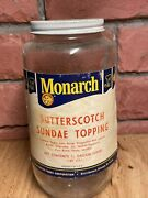Vintage Monarch Lion 1.89 Lts Advertising Jar Butterscoth Sunade Topping