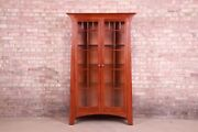 Ethan Allen Arts And Crafts Solid Cherry Wood Lighted Bookcase Or Display Cabinet