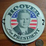 Hoover For President License Plate Topper Scarce W/ Wire Connectors Tin Button