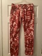 Buckle Miss Me Red White Tie Dye Skinny Jeans Studs 27 X 29 Embellished Stretch