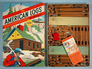 1950s American Logs Wood Building Toy Set Halsam No. 88 Unused With Booklet