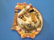 Quimper Covered Cheese Keeper Dish Bagpipes And Bows Hand Painted French Faience