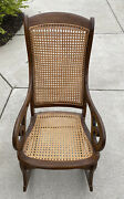1800and039s Antique Empire Furniture Lincoln Sewing Rocker Caned Rocking Chair