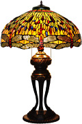Ht Style Antique Dragonfly Stained Glass Table Lamp 20 Inch Wide Stained