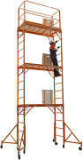 Cbm Scaffold Rolling Tower Standing At 17and039 High With Hatch Deck Guard Rail And U