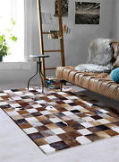 Nordic Cowhide Area Rug Cowhide Rug Patchwork Stylish Geometric Pattern For Home