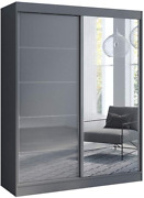 Aria 2 Door 59 Wide Modern High Gloss Wardrobe Armoire Gray With Mirror